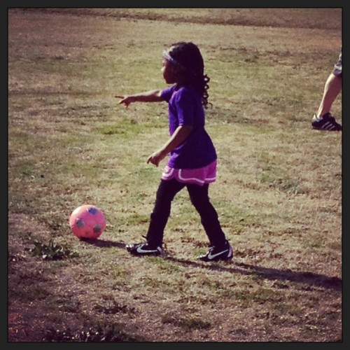 My baby being a good team captain during #soccer practice last week