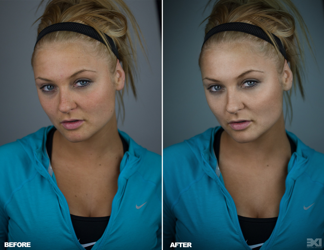 Before and After of new portrait shoot I did of my girlfriend thanks to Phlearn