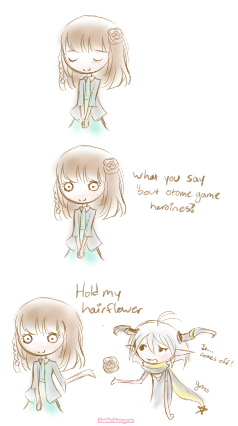 "bonbonbunny:  In which the Heroine's hairstyle is flipped so the joke is relevant. (◡‿◡✿)(ʘ‿ʘ✿) ""what you say 'bout me""(ʘ‿ʘ)ノ✿ ""hold my flower""✿\(。-_-。) ""Kick his ass, baby.  I got yo flower."" Bonus!"