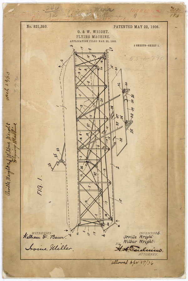 Wright Brothers' Flying Machine Patent, missing from the National Archives December 17 is the anniversary of the Wright Brother's historic first flight in 1903.  For most, it's a day to celebrate a pivotal milestone in aviation history.  But here at the National Archives and at other archives, libraries, and museums it's a reminder of the threat that cultural institutions face on a daily basis.  The patent for the Wright Flyer is missing—presumed stolen—last seen in 1979, and it's not the only item missing. When such records are stolen —sometimes for resale on web auction sites— our shared history is lost and our ability to maintain accountability in our government is lessened.  Together, with your help, we can return our cultural heritage to its rightful place. For More Information: Help the National Archives Recover Lost & Stolen Documents US National Archives Archival Recovery Team on Facebook  via the AOTUS Blog: The Impact of Theft