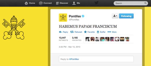 First tweet from the new pope!