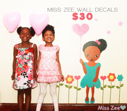 afroglitz:  Dora is nice, but wouldn't it be nice for your little girl to have something in her own image on her wall? (Refer to photo.)Decals stick directly onto any hard surface and can be removed and reapplied without leaving any residue. Also, the flowers, leaves, stems and balloon can be spaced out as far as you'd like. Reblog.Decals can be purchased by going to:http://misszee.net/shop/miss-zee-flower-wall-decals  Love this!
