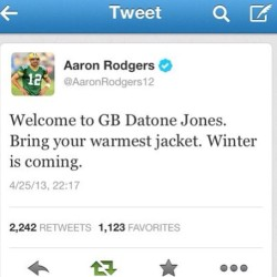 The best thing I saw yesterday. #packers #gameofthrones #aaronrodgers