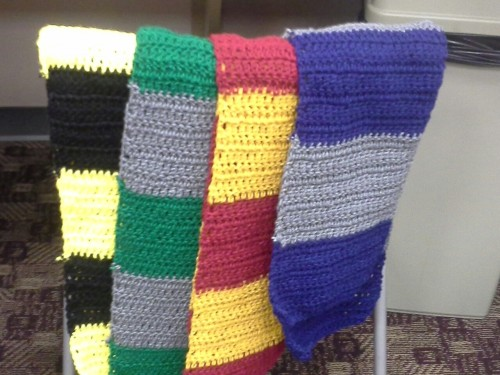 Harry Potter house scarves, based off the movies, that I crocheted as Harry Potter Trivia prizes!
