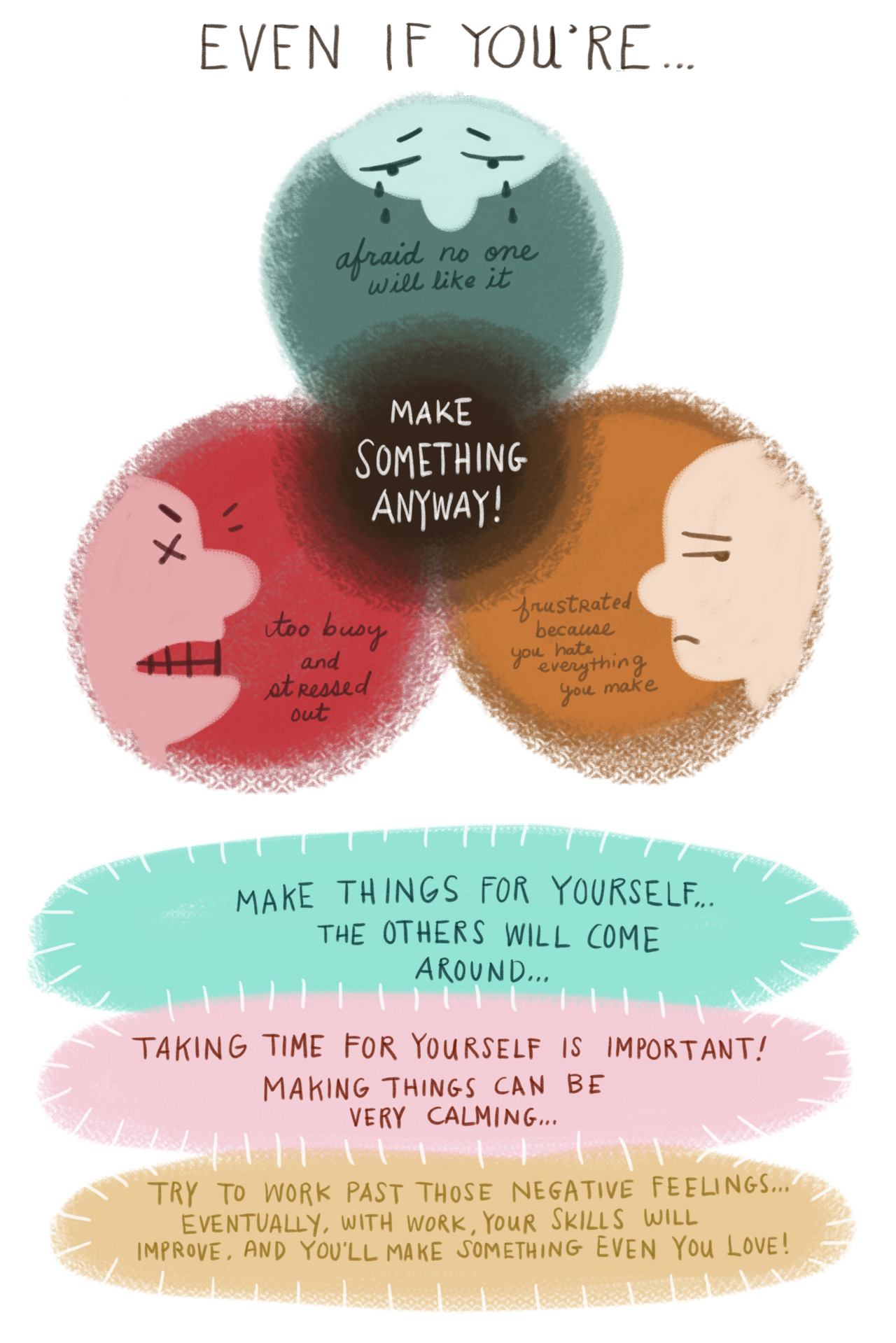 kimjimagery:  potatofarmgirl:  natashakline:  For all the artists out there. xoxo  I agree with Natasha!  Make stuff even if it HURTS! <3  ………..