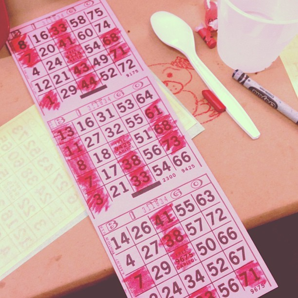 Bingo night at SPELC! Didn't know bingo could be so hard! Had six bingo squares to look at and the mc was yelling out the numbers too fast! 😲💦 #spelc #bingonight #ihatebingo #stillfunthough #latepost