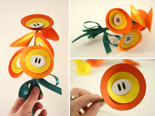 DIY paper fire flower bouquet via Tally's Treasury