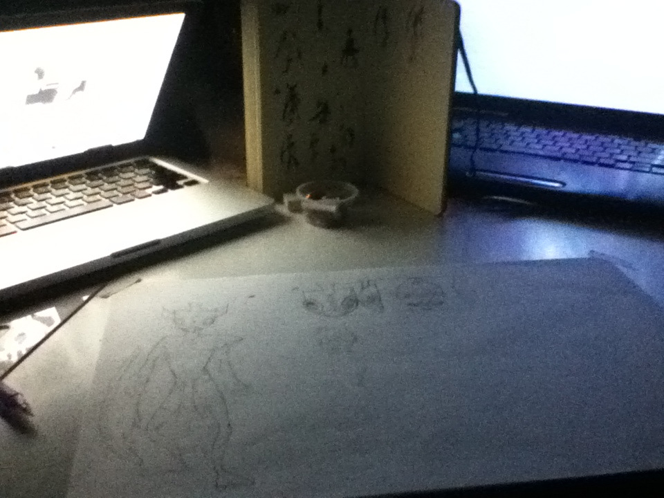 Drawing by laptop light