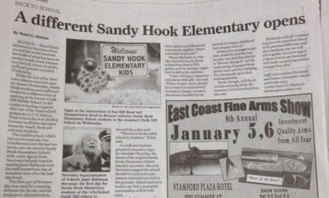 Fail. Newspaper runs gun show ad next to Sandy Hook story