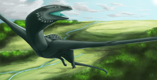 Finally done with this. My wyvern species. No lines just all painted. It was relieving to do more of my headworld stuff.