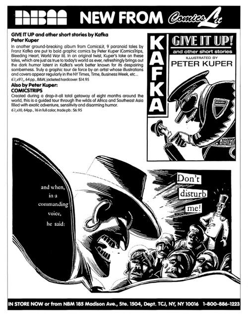 Promotional ad for Kafka's Give It Up! and Other Short Stories by Peter Kuper, 1995.
