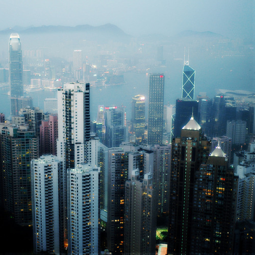 dreams-of-japan:  Misty Hong Kong ii by Horizon616 on Flickr.
