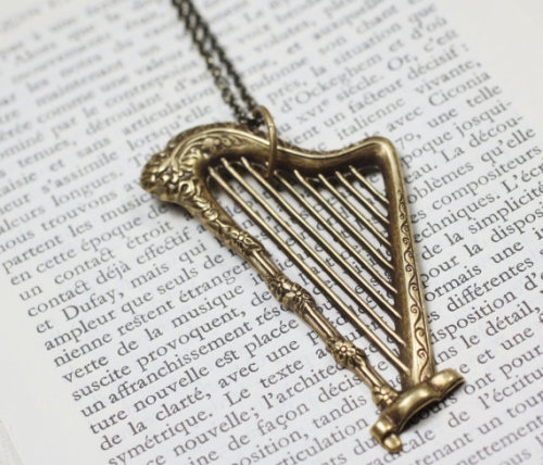 Large brass antique style harp long necklace by mylavaliere - wanelo on We Heart It - http://weheartit.com/entry/14365480/via/SamanthaLSH