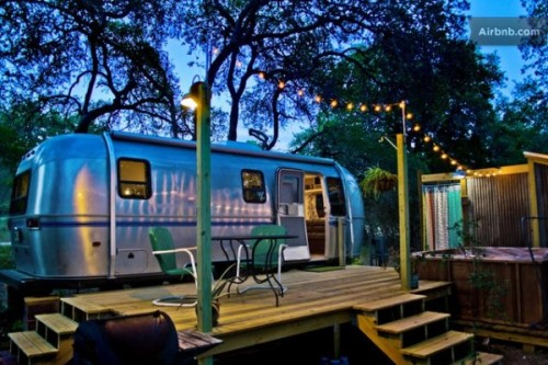 "tinyhousetalk:  Airstream ""Tiny House"" with Deck, Hot Tub, Fire Pit and Outdoor ShowerI ran into this Airstream ""tiny house"" on Airbnb and just had to share with you. It has a beautiful…View Post"