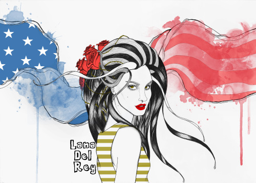 Lana Del Rey Hand drawing Pen Edit in Ps Cs 5