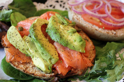 "muffintop-less:  Some Health Benefits of Salmon: ""The omega-3s found in salmon lock moisture into skin cells, encouraging the production of strong collagen and elastin fibers, which contribute to more youthful looking skin. Omega-3s have also been known to alleviate skin blemishes and maintain a good luster of the hair. Omega-3s provide nourishment to hair follicles, helping hair grow healthy and preventing hair loss. A rich supply of proteins is also important for hair growth. The high protein content of salmon helps maintain strong, healthy hair. [Not to mention maintaining & building muscle!]  Research on fish intake and joint protection has shown that the omega-3 fatty acids found in salmon can be converted by the body into three types of compounds that prevent chronic inflammation. What's especially interesting is that it combines these anti-inflammatory benefits with anti-inflammatory relief related not to fat but to protein. Recent studies show the presence of bioactive peptides in salmon may support healthy joint cartilage and other types of tissue. One bioactive peptide named calcitonin has been of special interest because it is also made in the human body by the thyroid gland, and we know that it helps regulate and stabilize the balance of collagen and minerals in bone and surrounding tissue. Such peptides may combine with salmon's omega-3 molecules to provide powerful anti-inflammatory benefits for joints. The incredibly high content of vitamin D and selenium found in salmon have also been shown to be key agents in preventing unwanted inflammation."" - SOURCE CONFESSION TIME….Smoked Salmon is my WEAKNESS. I have to stay away from the refrigerator or I could seriously eat an entire package. =P"