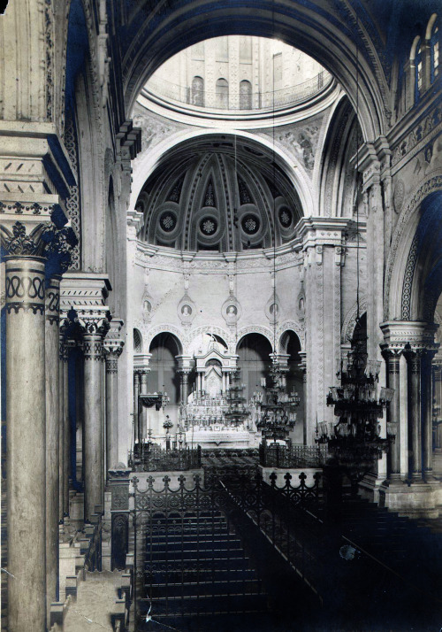 Interior of the seventh Manila Cathedral, circa 1910 - 1930. The first Cathedral was built in 1581, and throughout the long years that followed, the Cathedral would be rebuilt on the same spot whenever disaster toppled it down. The seventh Cathedral stood from 1879 - 1945.