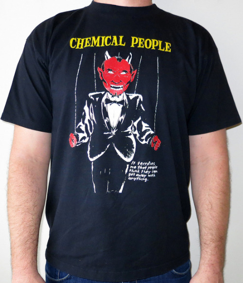 Day: 547 Shirt: Chemical People - It Terrifies Me That People Think They Can Get Away With Anything Color: Black Brand: Allstyle Apparel Source: As i was writing this post today I was listening to the Singles album (Cause its the only one on spotify) Aquaman came on.  i cant tell if Dave wrote this song as a joke or if he was the one guy that really loved Aquaman.  Did Aquaman really get ass?  I kinda doubt it, maybe other aqua men or something but i doubt wonder woman would touch those orange tights with a 10ft lasso of truth.  The only truth that he would reveal is that he is sad no one likes him and his only friends are fish who don't have feelings.  maybe he would also reveal that he secretly likes Sushi too.  enough about this character lets move on to the one on the shirt the character drawn by the one and only Raymond Pettibon  this design is fucking epic.   might be one of the best Chemical People shirts out there.  (sorry Chris but if you are going to get beat out by being best its ok to come in second place to Pettibon) I have this shirt as a MOCA edition done by Raymond Pettibon as a Black Flag shirt but it would be the first time an illustrator has reused the same image for two bands , now is it.  this time it looks like it was originally for a flyer for a black flag / Eddie and the subtleties and the Minutemen.   This art is so good, and way better in color…Right?