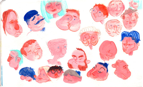 Had some left over acryla gouache, so brushed some shapes into my moleskine. A few days (and some watercolor pencils) later and ya got a page full o' faces.