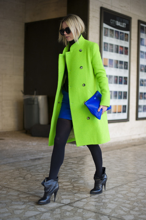 topshop:  Go neon with your coat but go back to black with bold shades.