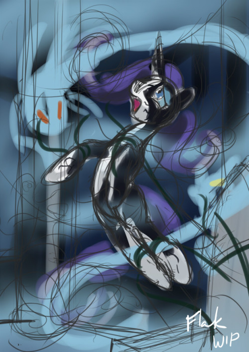 "New composition for the ""Birth of Nightmare Rarity"" painting. I'm liking this one a whole lot better. I was planning on doing more today, but I was swept away by xbox one related news all after noon. Just posting this here because I said I would post something today. If you have any thoughts, critiques, or otherwise, they are appreciated.  Off to get Fire Emblem."