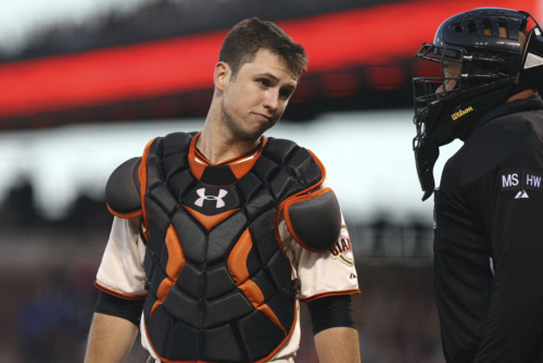 lincecumownsmyheart:  Buster Posey, possibly trying to charm an umpire =P