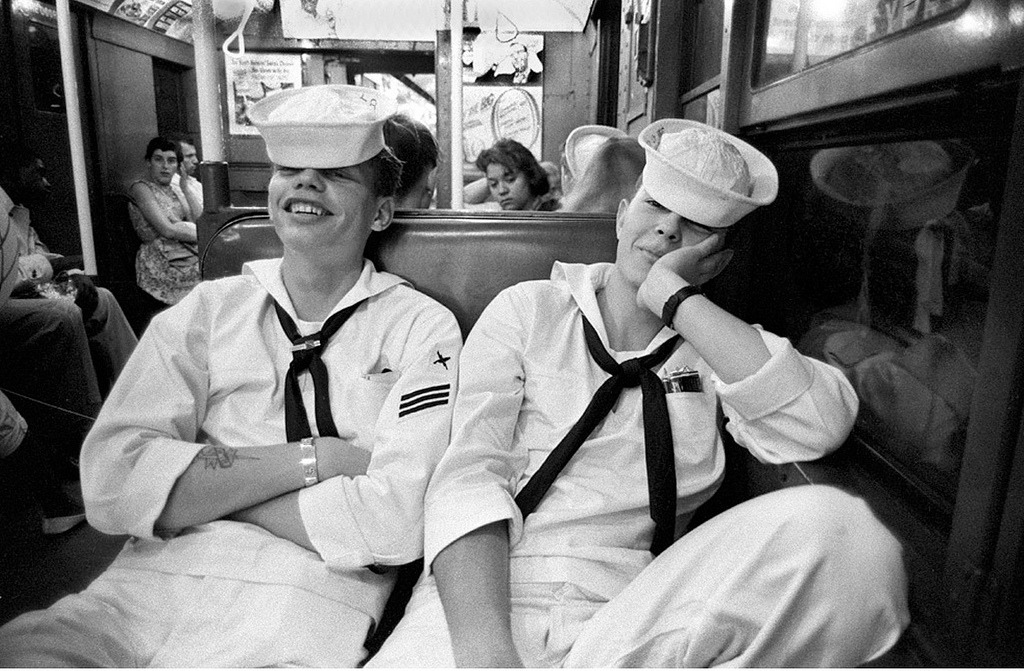 Sailors riding the subway from Coney Island. New York, 1957. By Harold Feinstein