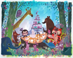 "designersof:  ""Tea Party"" by Joey Chou.  Acrylic on canvas board. ————————get your work featured by submitting it to designersof.com  Illustration / peinture ""Tea party"" par Joey Chou à l'acrylique"