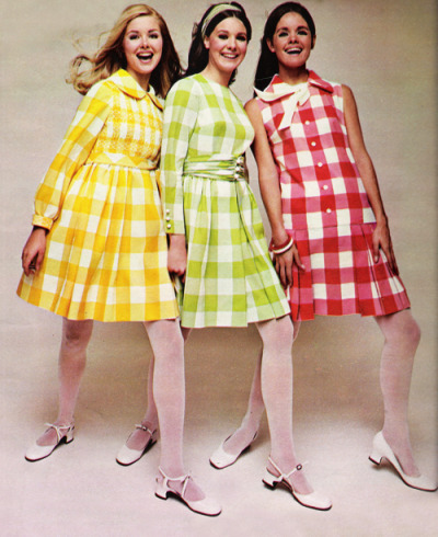 "justseventeen:  March 1968. ""They're gingham girls. Wonderful in 100% Dacron crepe checks."""