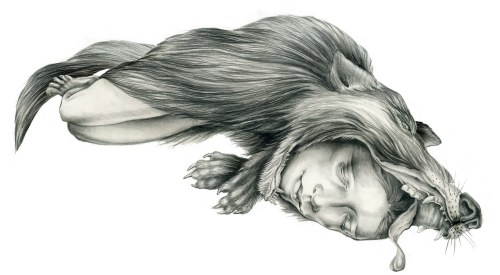 2headedsnake:  Judith Schaechter 'Feral Child', 2010 graphite on paper