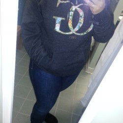 "Comfy hoodie, jeans and uggs for work on this ""snow"" day. #obey #ootd"