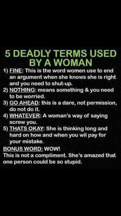 giovannafletcher1:  Deadly terms used by a woman… Very funny. x