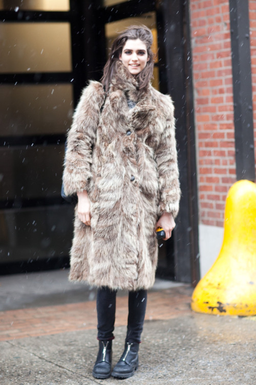 "theinsidesource:  Snow Style: Manon Leloup Friday was ""Snow Day"" as the seeds of blizzard Nemo began to descend. The Inside Source snapped Manon Leloup wearing two vintage items — coat and boots topped with Rag & Bone jeans. In terms of digging through eBay, Manon admitted ""I have found two bags from Ebay. I'm an Ebay addict."". Thank you Manon! Here's a link to secure some more Rag&Bone jeans on Ebay to fluff up your collection.  (Photo: Melodie of TheNYCStreets.com. Text by Jauretsi)  Hi everybody! I am shooting for www.TheInsideSource.com, Ebay's Fashion Tumblr! Here is my first post from yesterday. x."