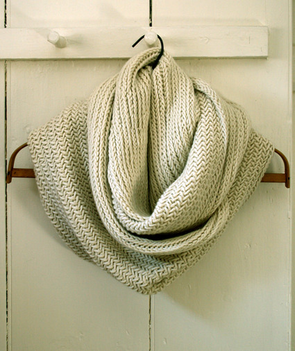 Just finished knitting this herringbone cowl.  Just in time for the snow! :)