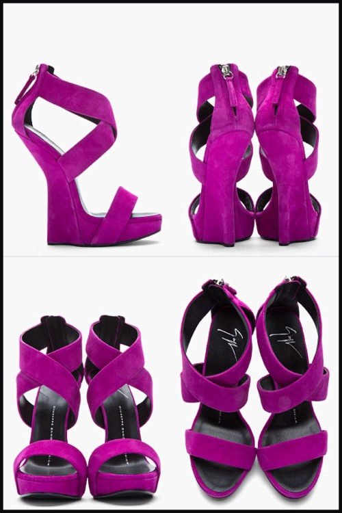 billidollarbaby:  Giuseppe Zanotti Purple suede sculpted Alien heels ($850) available now at ssense.com