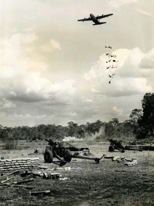 vietnamwarera:  A Lockheed C-130 drops supplies during Operation Junction City to the 173rd Airborne Brigade, 1967.