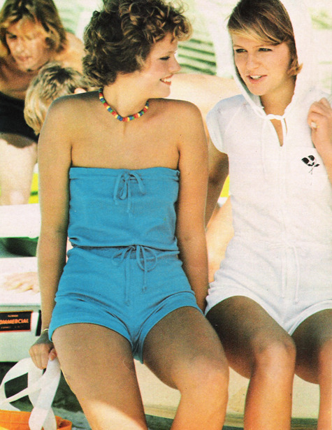 Strapless rompers in Seventeen magazine, March 1977.