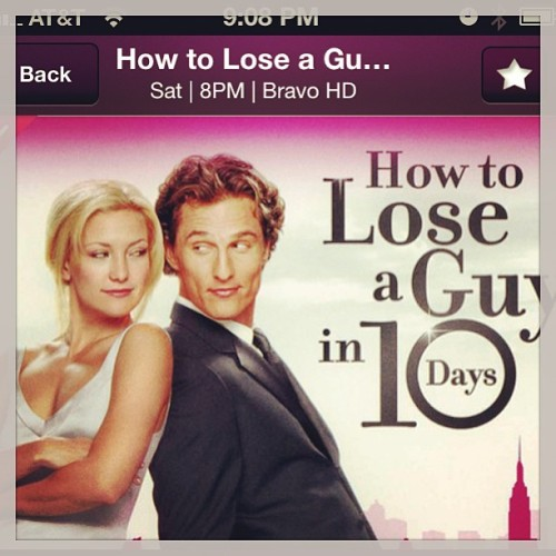 Watching #HowToLoseAGuyin10Days forgot what a #hilariousmovie it is!  Love #matthewmcconaughey and #katehudson #bravotv