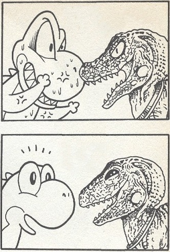 suppermariobroth:  Game Yoshi and Movie Yoshi meet.
