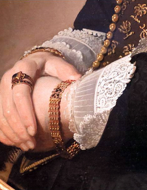 c0ssette:  Detail of Portrait of a Woman by Johannes Cornelisz Verspronck,1641.