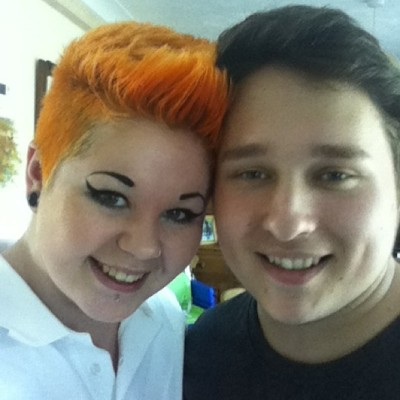 Me and my man #personal #me #boy #boyfriend #couple #love #girl #shorthair #orange #orangehair #girlswithshorthair #shavedhair #piercing #makeup #smile #inlove #loveyou #happy #stretchedears #polo #summer #gorgeous #goodtimes #emmabonkers  (at Greenhill)