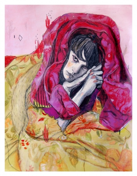 "Alexandra Levasseur. Fire Sleep with Me, 2011. Acrylic and colored pencils on paper, 11 x 14"".   Website Blog Facebook  Via Art From Suburbia"