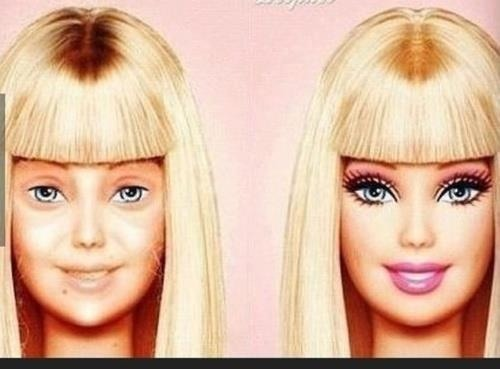 Barbie without her face on