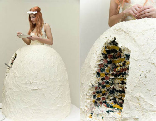 A wedding dress and wedding cake combined. Genius!