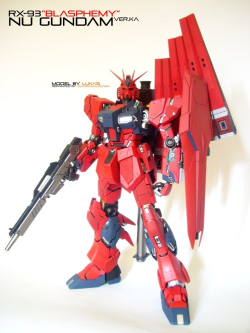 "gunjap:  MG 1/100 RX-93 Nu Gundam ""Blasphemy"" Ver.Ka : Modeled by Lukas.S repainted by Olka Ramalegawa. Photoreview Wallpaper Size Images, Infohttp://www.gunjap.net/site/?p=130935"