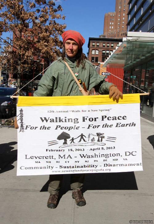 "Walking For Peace A member of the New England Peace Pagoda, who is taking part in the 12th Annual Walk for Peace. Beginning February 16th in Leverett, MA, ""Walk for a New Spring"" will end 50 days later in Washington D.C. More photos of Activist."