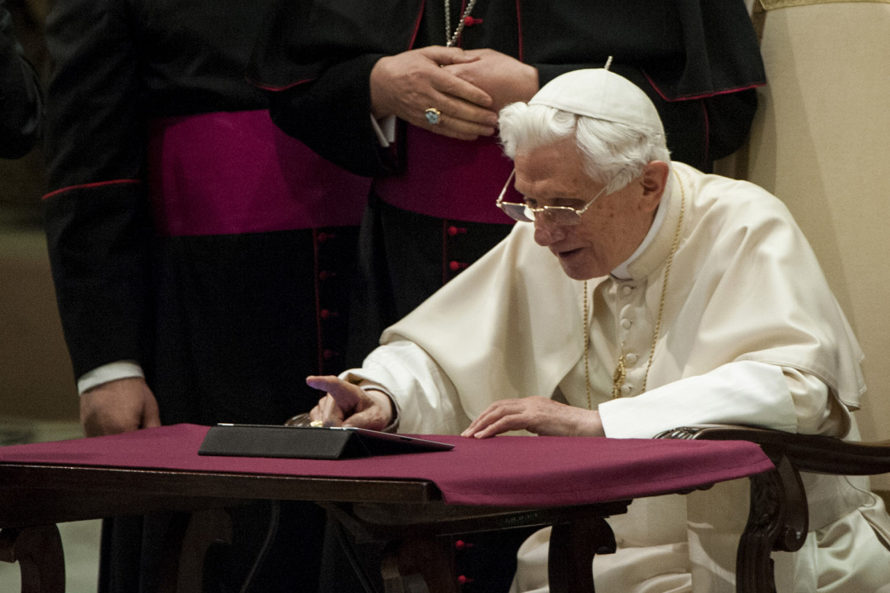 Dec. 12, 2012. Pope Benedict XVI clicks on an iPad to send his first twitter message during his weekly general audience at the Vatican in Italy, Rome. (Photo: CPP/Polaris) From continued protests in Egypt and a mass wedding in Indonesia to Syrian refugees in Turkey and the Pope's first tweet, TIME presents the best images of the week. See more on LightBox.