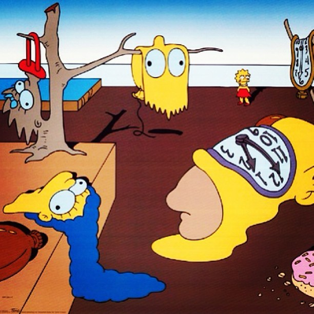 "mindofcoolrumors:  ++ Simpsons Version of the GUDDA GOD ""SALVADOR DALI"" Dripping Clock ++"