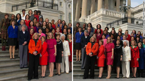 Photo hunt! Rep. Pelosi's office distributed a (poorly?) photoshopped photograph of all the Democratic women of Congress. Those top four weren't actually there when the picture was taken.