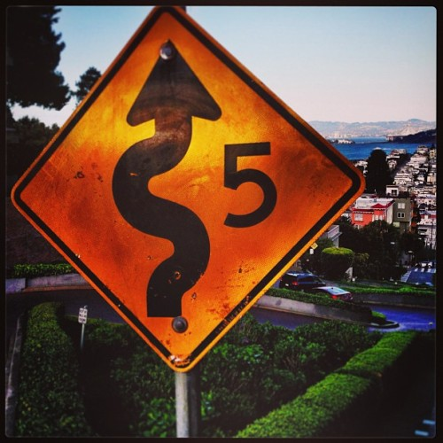 lombard street: too curvy to attempt walking down… (at Lombard Street)